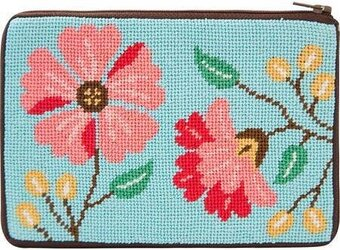 Cosmetic Purse - Pink Flowers - Needlepoint Kit