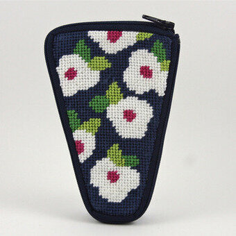 Scissor Case - Navy Floral - Needlepoint Kit