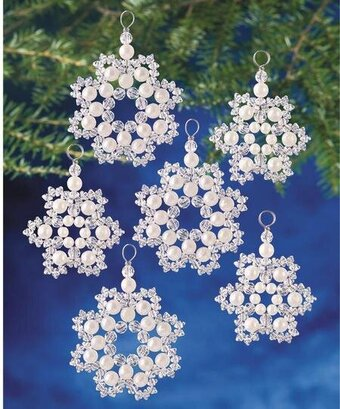 Crystal and Pearl Snowflakes Beaded Christmas Ornament Kit