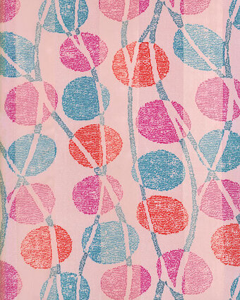 Print Scarf - 13x60 Satin Stripe - Abstract Circles -  Pink
