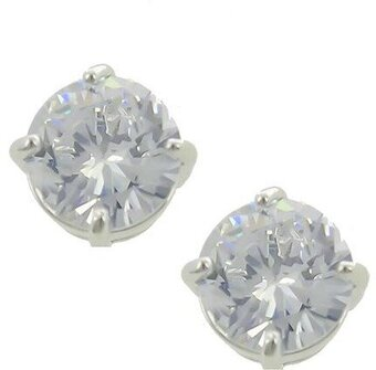 Rhodiumized Clear Cubic Zirconia Post Round Stud Earrings