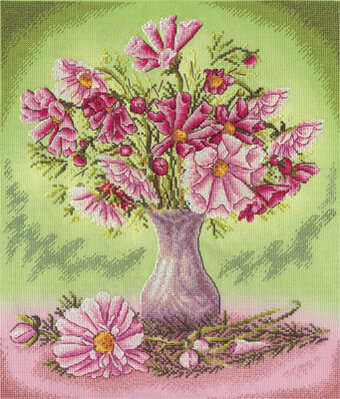 Pink Cosmos Flowers - Cross Stitch Kit