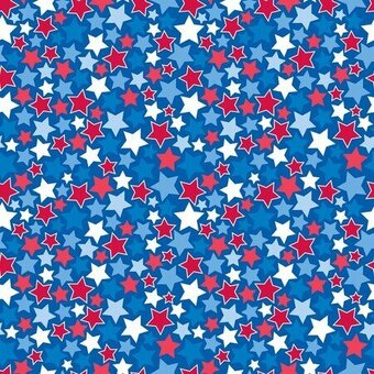 Patriotic Stars Blue 100% Cotton Fabric Half Yard
