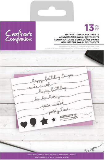 Birthday Swash Sentiments - Clear Stamp