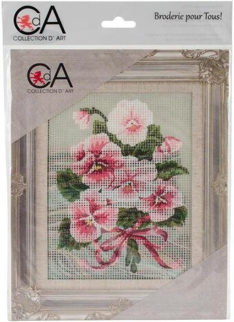 Pink Floral Bouquet - Stamped Needlepoint Kit