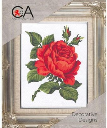 Red Rose - Stamped Needlepoint Kit