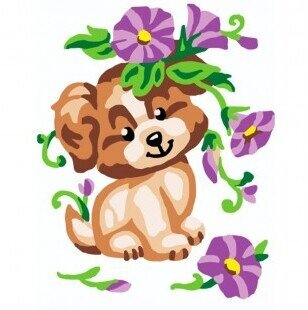 Puppy With Flowers - Stamped Needlepoint Kit