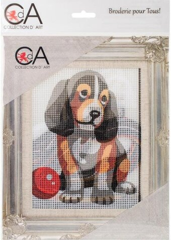Puppy With Ball - Stamped Needlepoint Kit