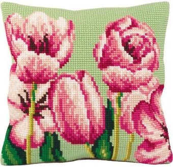 Tulipe A Gauche Flowers - Stamped Needlepoint Cushion Kit