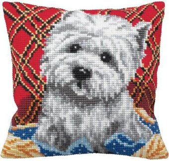 Bichon - Stamped Needlepoint Cushion Kit