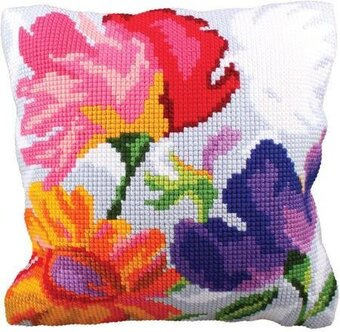 Stylish Flowers II - Stamped Needlepoint Cushion Kit