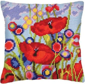 Red Poppies I - Stamped Needlepoint Cushion Kit