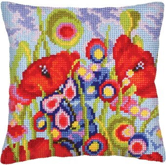 Red Poppies II - Stamped Needlepoint Cushion Kit