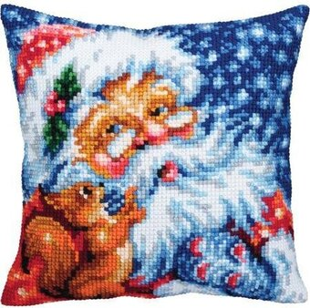 Santa - Christmas Stamped Needlepoint Cushion Kit