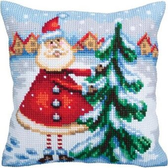 Santa From Lapland Christmas Stamped Needlepoint Cushion Kit