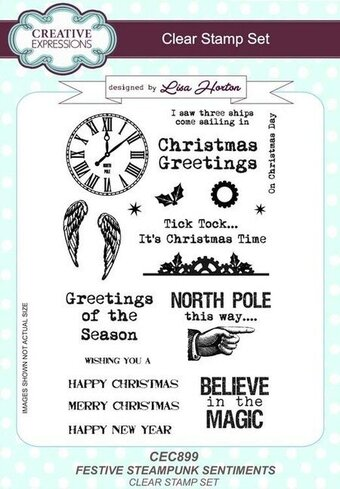 Festive Steampunk Sentiments - Christmas Clear Stamp