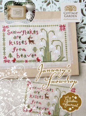 January's Snowdrop - My Garden Journal Cross Stitch Pattern