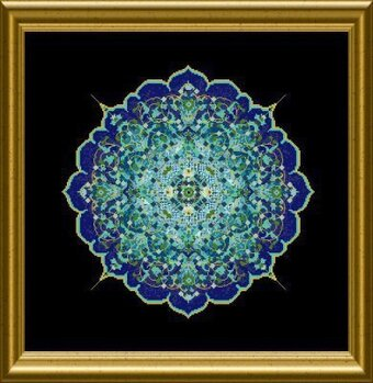 Blue Moroccan Lace Mandala, The - Cross Stitch Pattern