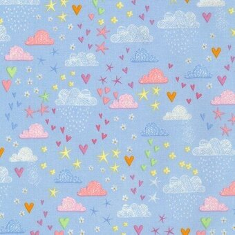 Blue Clouds Stars Hearts with Metallic Fabric - Yardage