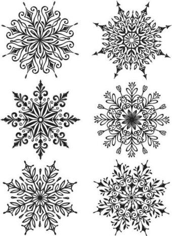 Tim Holtz Cling Mount Stamps - Swirly Snowflakes