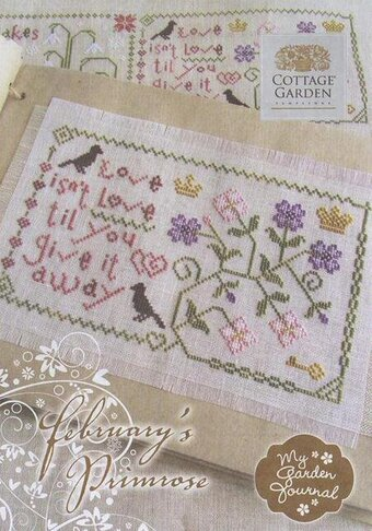 February's Primrose My Garden Journal - Cross Stitch Pattern