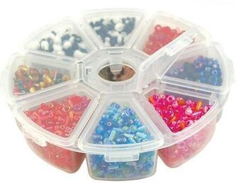 "Bead Storage Organizer Boxes 4"" 8 Compartments"