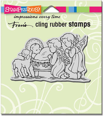 Manger Cherubim - Christmas Cling Rubber Stamp