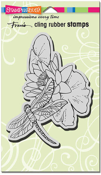 Dragonfly Lily Flower - Cling Rubber Stamp