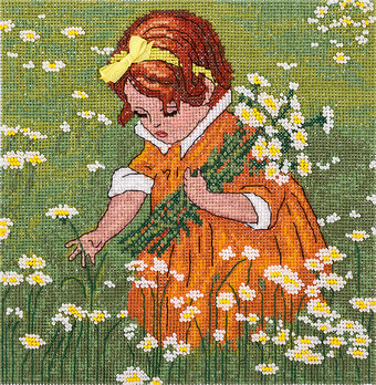 A Girl in Chamomiles - Cross Stitch Kit