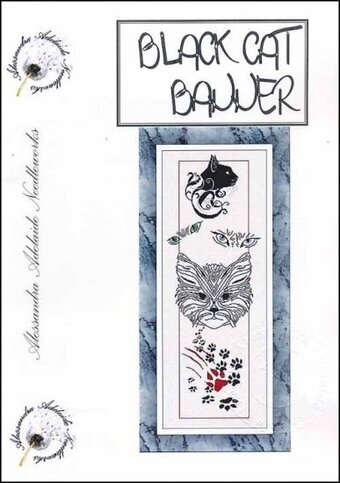 Black Cat Banner - Cross Stitch Pattern