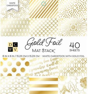 Gold Foil Mat Stack DCWV 6x6 White Cardstock With Gold Foil