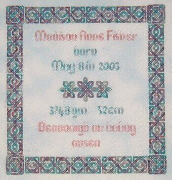 Celtic Birth Sampler - Cross Stitch Pattern