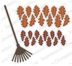 Impression Obsession Oak Leaves and Rake Die