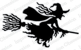 Impression Obsession Witch Flying Halloween Die
