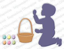 Impression Obsession Boy with Easter Basket Die