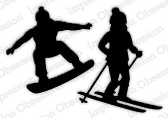 Skier and Snowboarder - Impression Obsession Craft Die