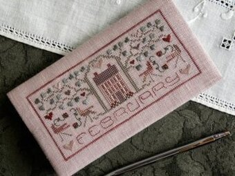 Pocket Calendar Cover - February - Cross Stitch Pattern