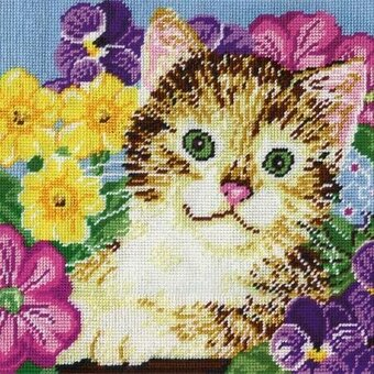Cat in Flowers - Needlepoint Kit