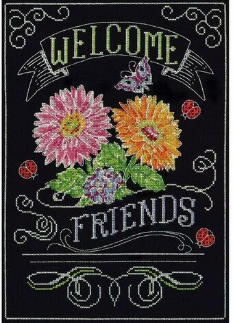 Welcome Friends Chalkboard - Cross Stitch Kit