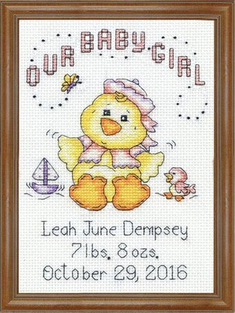 Girl Chick Baby Birth Record - Cross Stitch Kit