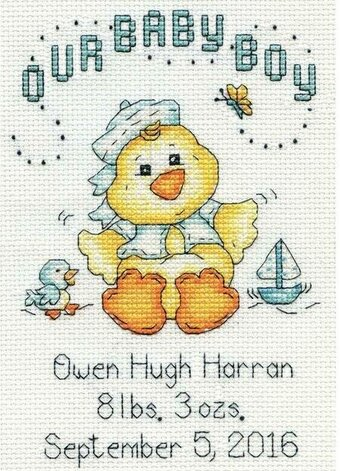Baby Boy Chick Birth Record - Cross Stitch Kit