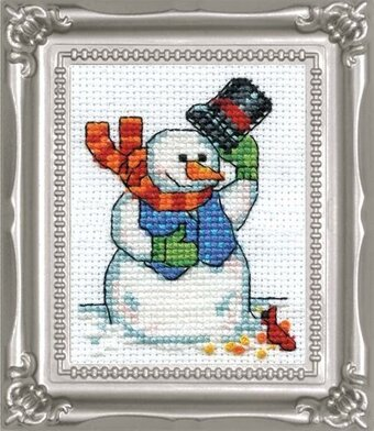 Snowman and Cardinal with Frame - Christmas Cross Stitch Kit