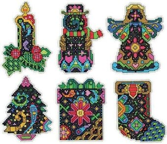 Christmas Fantasy Ornaments Plastic Canvas Cross Stitch Kit