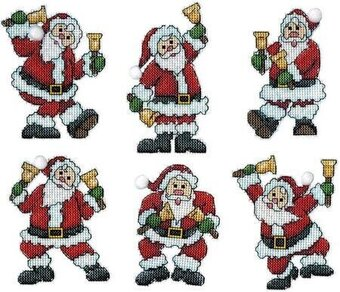 Santa with Bells Christmas Ornaments - Cross Stitch Kit