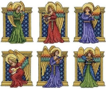Design Works Medieval Angels Christmas Ornaments - Cross ...