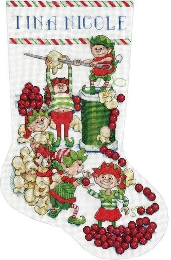 Popcorn Elves Christmas Stocking - Cross Stitch Kit