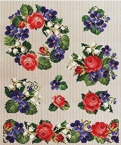 Roses and Violets Series 1 - Cross Stitch Pattern