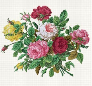 Roses in their Splendour - Cross Stitch Pattern