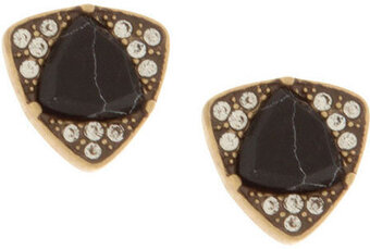 Pave Edge With Goe Cut Stone Stud Earring - Black