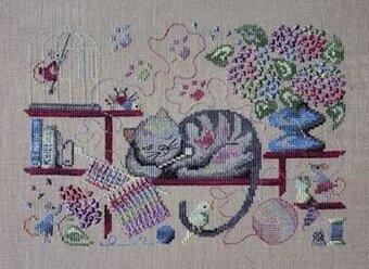 Knitting Cross Stitch Pattern : Filigram Knitting Cat - Cross Stitch Pattern - 123Stitch.com